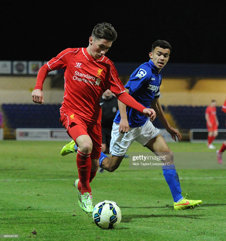 Harry Wilson of Liverpool and Domenic Bernard of Birmingham City in action during the FA Youth Cup 5th Round match between Liverpool and Birmingham City at The Swansway Chester Stadium on January 30, 2015 in Chester, England.
