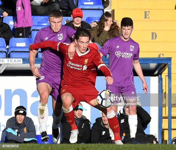 Harry Wilson of Liverpool and George Nurse of Bristol City in action during the U23 Premier League Cup between Liverpool and Bristol City at The...