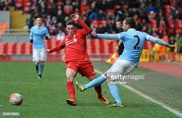 Harry Wilson of Liverpool and James Horsfield of Manchester City in action during the Liverpool v Manchester City Barclays U21 Premier League game at...