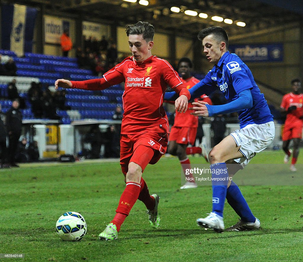 Harry Wilson of Liverpool and Josh Martin of Birmingham City in action during the FA Youth Cup 5th Round match between Liverpool and Birmingham City at The Swansway Chester Stadium on January 30, 2015 in Chester, England.
