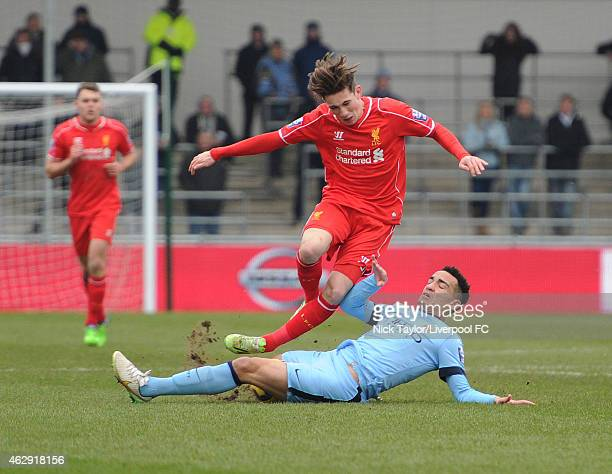 Harry Wilson of Liverpool and Kean Bryan of Manchester City in action during the Barclays U21 Premier League match between Manchester City and...