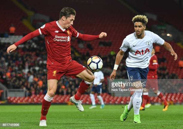 Harry Wilson of Liverpool and Keanan Bennetts of Tottenham Hotspur in action during the Liverpool v Tottenham Hotspur Premier League 2 game at...