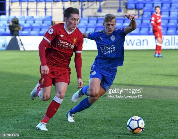 Harry Wilson of Liverpool and Kiernan DewsburyHall of Leicester City in action during the Liverpool v Leicester City PL2 game at Prenton Park on...