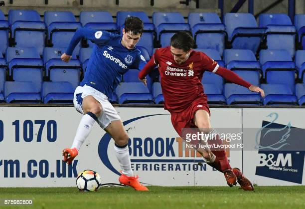 Harry Wilson of Liverpool and Matthew Foulds of Everton in action during the Liverpool v Everton Premier League 2 game at Prenton Park on November 18...