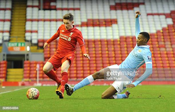 Harry Wilson of Liverpool and Tosin Adarabioyo of Manchester City in action during the Liverpool v Manchester City Barclays U21 Premier League game...