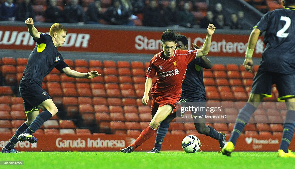 Harry Wilson of Liverpool and Will Wood of Southampton in action during the Barclays Premier League Under 21 fixture between Liverpool and Southampton at Anfield on October 16 in Liverpool, England.
