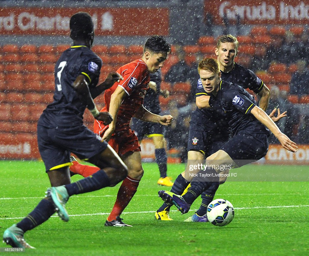 Harry Wilson of Liverpool breaks through the Southampton defence during the Barclays Premier League Under 21 fixture between Liverpool and Southampton at Anfield on October 16 in Liverpool, England.