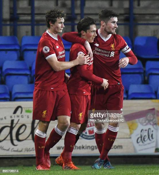 Harry Wilson of Liverpool celebrates hios goal with Matty virtue and Corey Whelan during the Liverpool v PSV Eindhoven Premier League International...