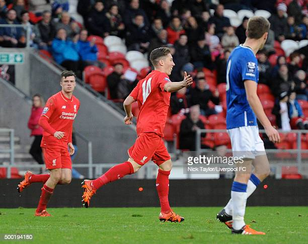 Harry Wilson of Liverpool celebrates his goal during the Liverpool v Everton U21 Premier League game at Langtree Park on December 6 2015 in St Helens...