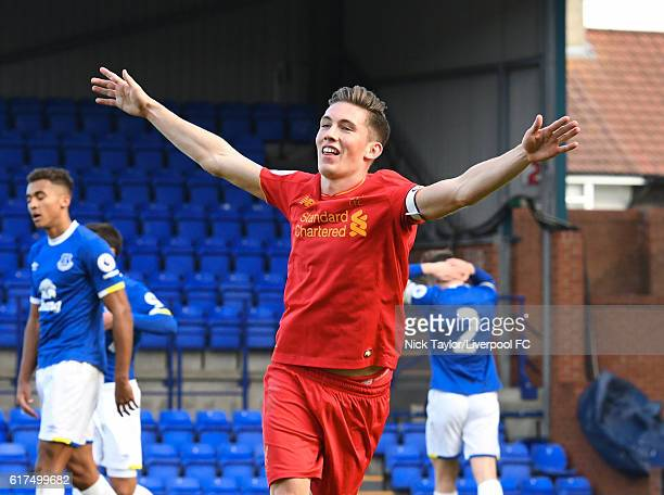 Harry Wilson of Liverpool celebrates his goal during the Liverpool v Everton Premier League 2 game at Prenton Park on October 23 2016 in Birkenhead...