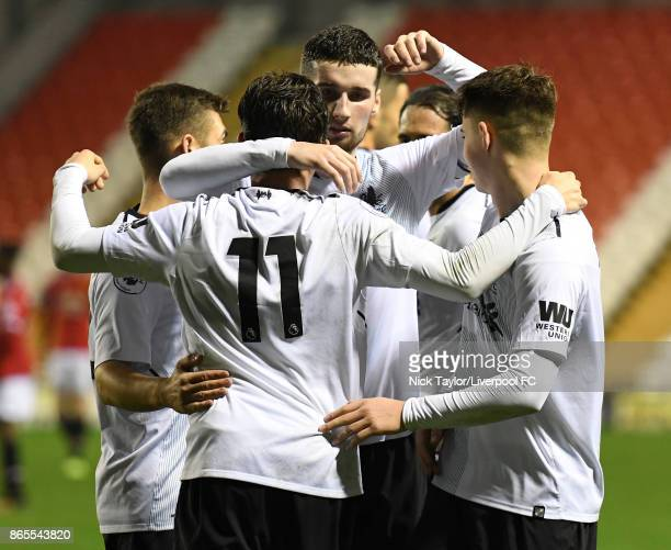 Harry Wilson of Liverpool celebrates his goal with Corey Whelan during the Manchester United v Liverpool Premier League 2 game at Leigh Sports...