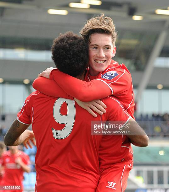 Harry Wilson of Liverpool celebrates his goal with team mate Jerome Sinclair during the Barclays U21 Premier League match between Manchester City and...