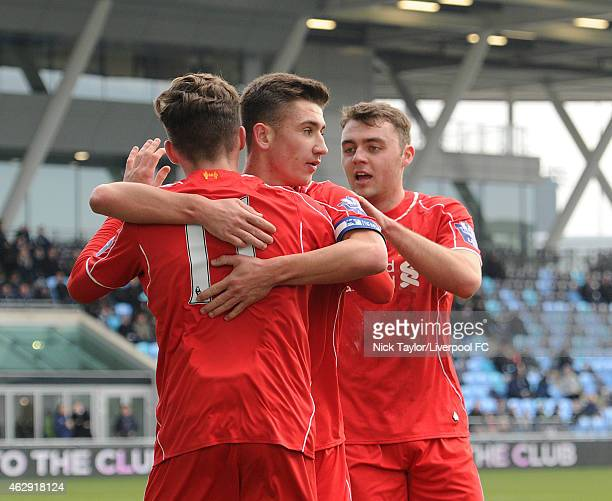 Harry Wilson of Liverpool celebrates his goal with team mates Cameron Brannagan and Connor Randall during the Barclays U21 Premier League match...
