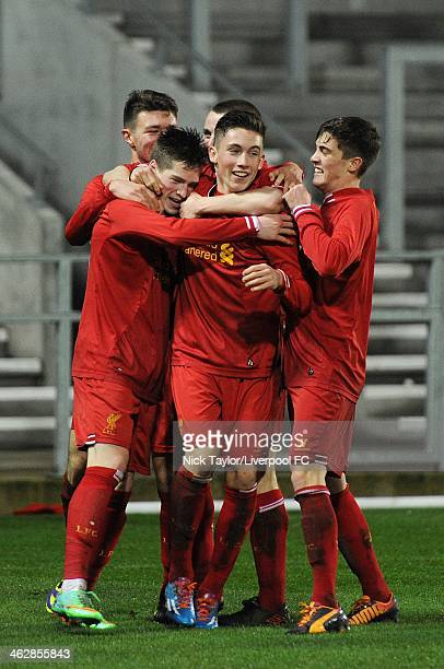 Harry Wilson of Liverpool celebrates his second goal of the game with his team mates during the FA Youth Cup Fourth Round fixture between Liverpool...