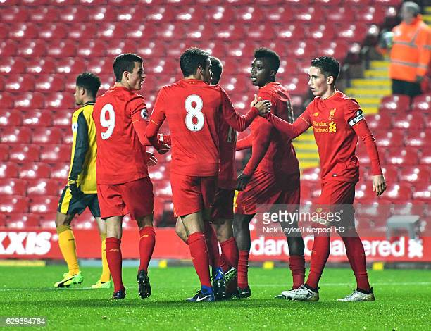 Harry Wilson of Liverpool celebrates scoring his second goal with team mates Brooks Lennon Pedro Chirivella Cameron Brannagan and Sheyi Ojo during...