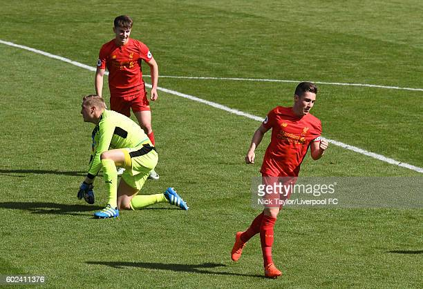 Harry Wilson of Liverpool celebrates scoring his team's third goal during the Premier League 2 game between Liverpool and Leicester City at Prenton...