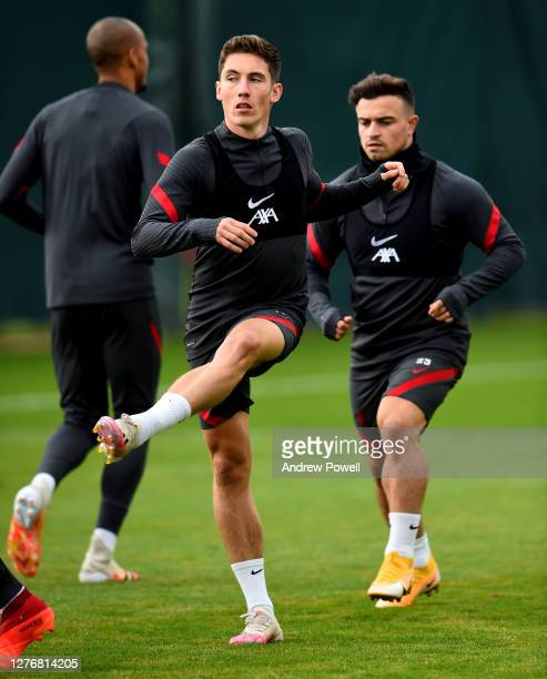 Harry Wilson of Liverpool during a training session at Melwood Training Ground on September 26 2020 in Liverpool England