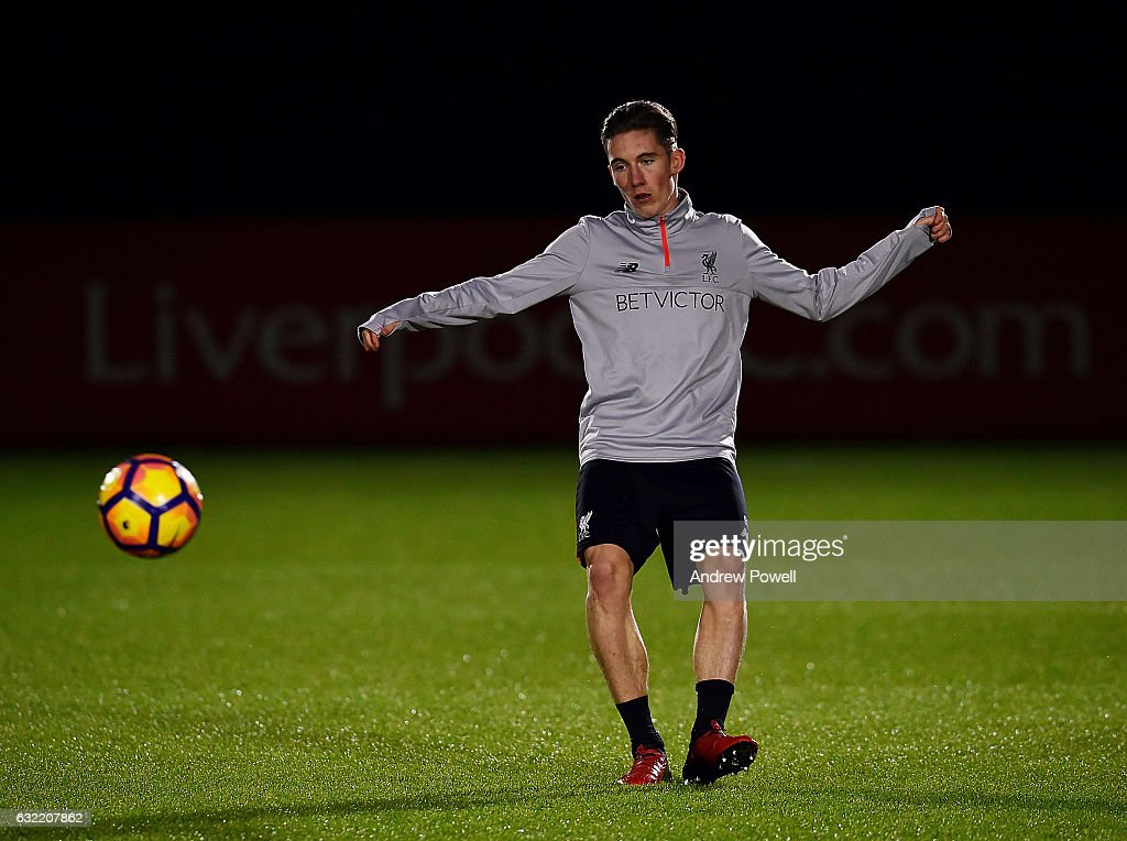 Harry Wilson of Liverpool during a training session at Melwood Training Ground on January 20, 2017 in Liverpool, England.
