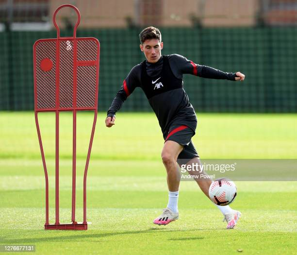 Harry Wilson of Liverpool during the training session at Melwood Training Ground on September 25 2020 in Liverpool England