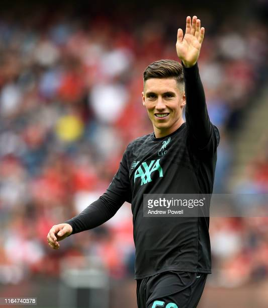 Harry Wilson of Liverpool during the warm up before the PreSeason Friendly match between Liverpool FC and SSC Napoli at Murrayfield on July 28 2019...