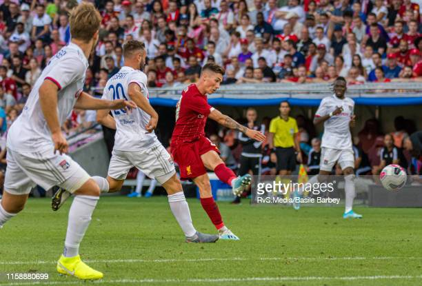 Harry Wilson of Liverpool FC scores a goal during the Pre-Season Friendly match between Liverpool FC and Olympique Lyonnais at Stade de Geneve on...