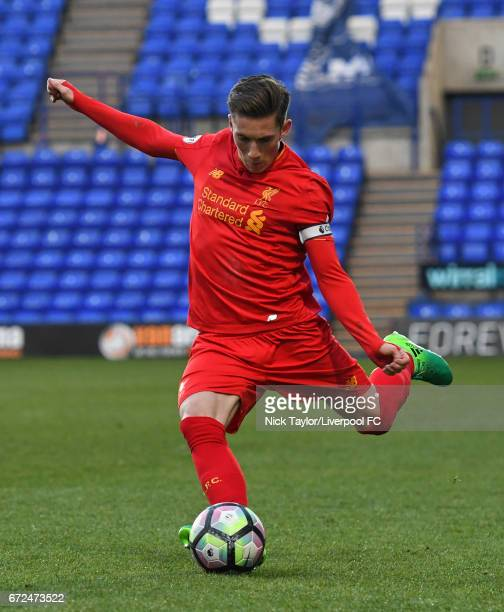 Harry Wilson of Liverpool in action during the Liverpool v Manchester City Premier League 2 game at Prenton Park on April 24 2017 in Birkenhead...