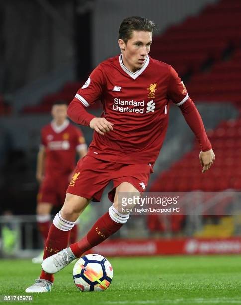 Harry Wilson of Liverpool in action during the Liverpool v Tottenham Hotspur Premier League 2 game at Anfield on September 22 2017 in Liverpool...