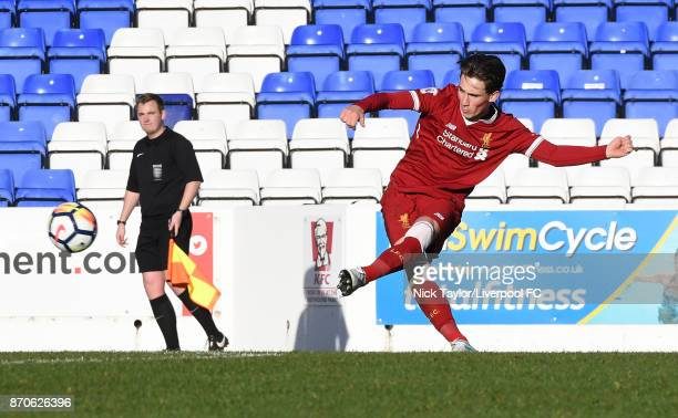 Harry Wilson of Liverpool in action during the U23 Premier League Cup between Liverpool and Bristol City at The Swansway Chester Stadium on November...