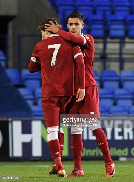 Harry Wilson of Liverpool is consoled by his team mate Yan Dhanda after his penalty miss during the Liverpool v Sparta Prague U23 Premier League...