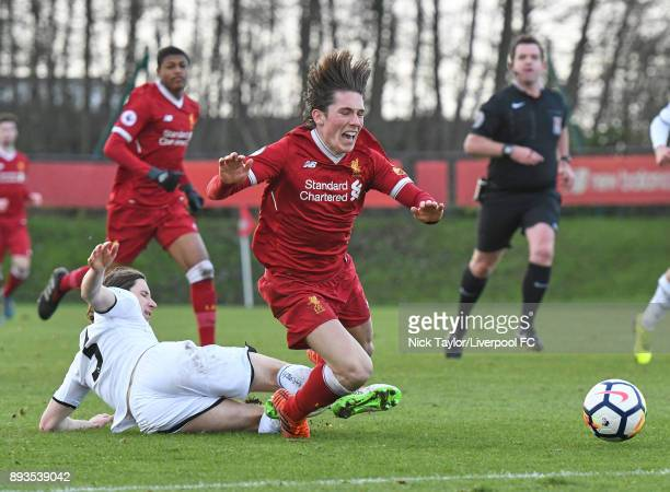 Harry Wilson of Liverpool is fouled by Aaron Lewis of Swansea City in action during the Liverpool U23 v Swansea City U23 PL2 game at The Kirkby...