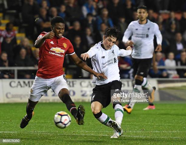 Harry Wilson of Liverpool scores during the Manchester United v Liverpool Premier League 2 game at Leigh Sports Village on October 23 2017 in Leigh...