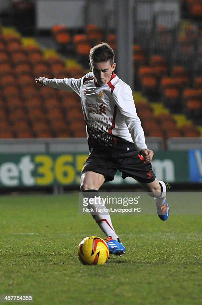 Harry Wilson of Liverpool scores his penalty during the FA Youth Cup Third Round fixture between Blackpool and Liverpool at Bloomfield Road on...