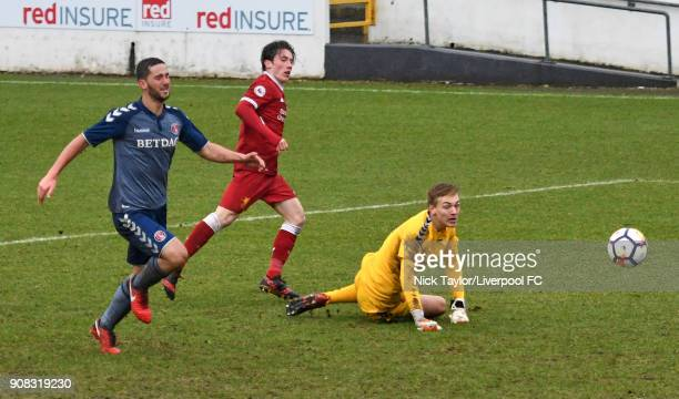 Harry Wilson of Liverpool scores the fourth goal for Liverpool during the Liverpool U23 v Charlton Athletic U23 Premier League Cup game at The...