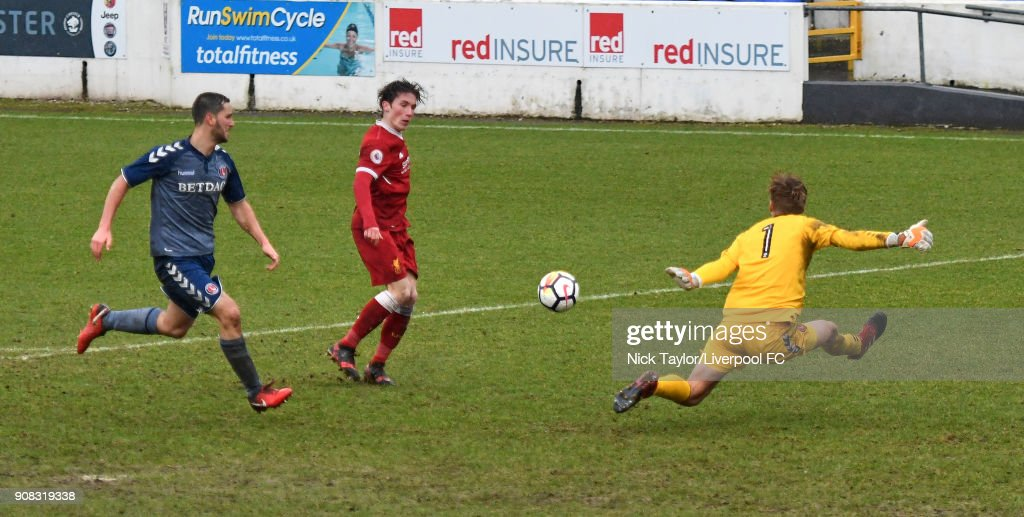Harry Wilson of Liverpool scores the fourth goal for Liverpool during the Liverpool U23 v Charlton Athletic U23 Premier League Cup game at The Swansway Chester Stadium on January 21, 2018 in Chester, England.
