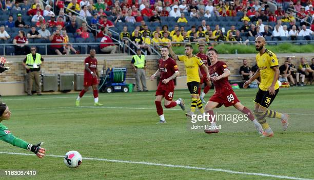 Harry Wilson of Liverpool scoring a gaol during the preseason friendly match between Borussia Dortmund and Liverpool FC at Notre Dame Stadium on July...