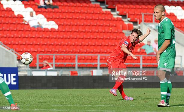 Harry Wilson of Liverpool strikes a free kick towards goal during the UEFA Youth Champions League fixture between Liverpool and Ludogrets Razgrad at...