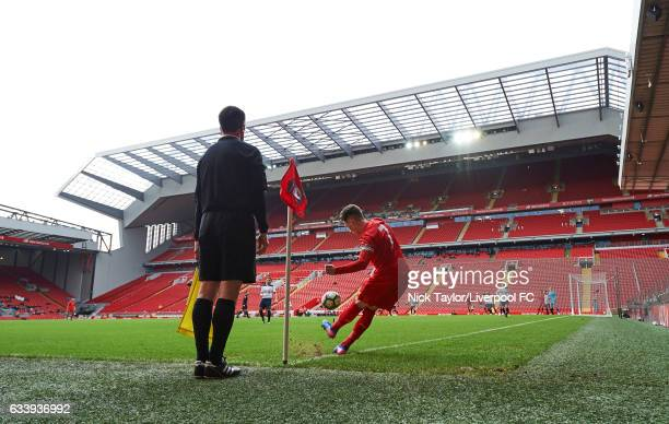 Harry Wilson of Liverpool takes a corner with the new Main Stand in the background during Premier League 2 match between Liverpool and Tottenham...