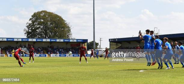 Harry Wilson of Liverpool taking a freekick during the Preseason friendly between Chester FC and Liverpool on July 7 2018 in Chester United Kingdom