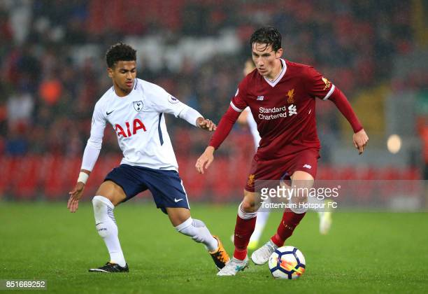Harry Wilson of Liverpool turns from Marcus Edwards of Tottenham Hotspur during the Premier League 2 match between Liverpool and Tottenham Hotspur at...
