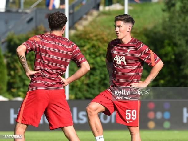 Harry Wilson of Liverpool warming up before a Pre Season friendly between Wacker Innsbruck and FC Liverpool on July 20, 2021 in Saalfelden, Austria.