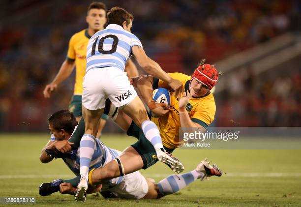 Harry Wilson of the Wallabies is tackled during the 2020 Tri-Nations match between the Australian Wallabies and the Argentina Pumas at McDonald Jones...