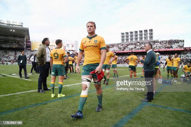 Harry Wilson of the Wallabies walks off the field after losing the Bledisloe Cup match between the New Zealand All Blacks and the Australian...