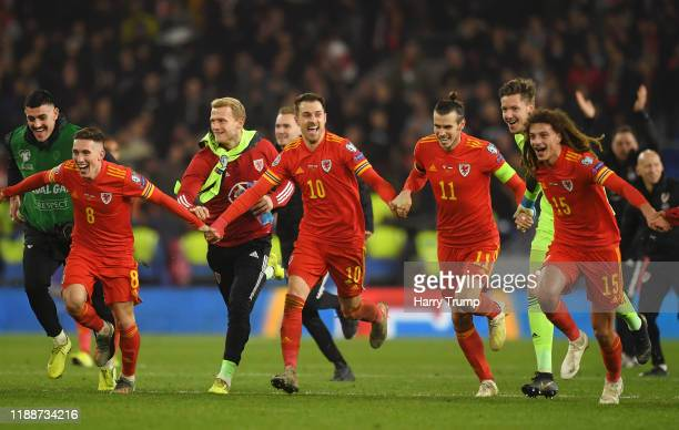 Harry Wilson of Wales , Aaron Ramsey of Wales and Gareth Bale of Wales celebrate after the UEFA Euro 2020 qualifier between Wales and Hungary so at...