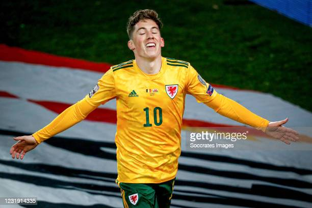 Harry Wilson of Wales celebrates 0-1 during the World Cup Qualifier match between Belgium v Wales on March 24, 2021