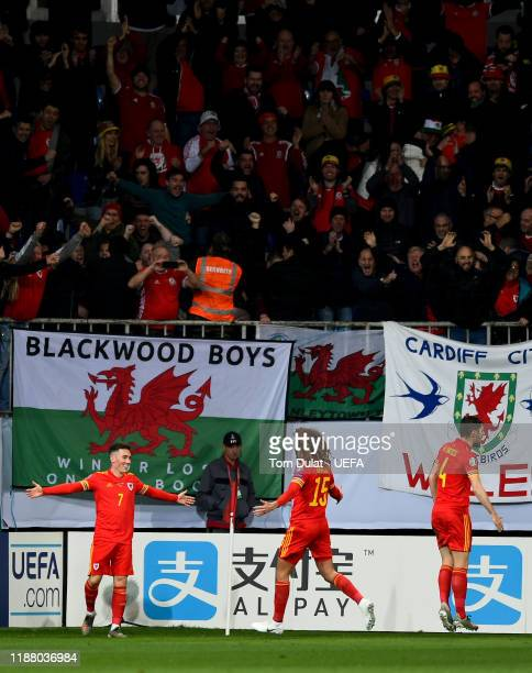 Harry Wilson of Wales celebrates scoring the second goal during the UEFA Euro 2020 Qualifier between Azerbaijan and Wales on November 16, 2019 at...