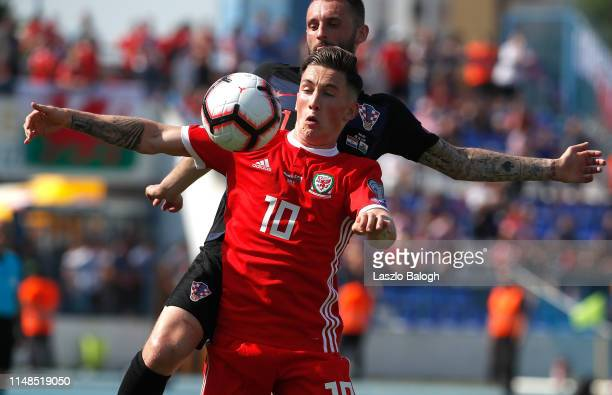 Harry Wilson of Wales fights for a ball with Dejan Lovren of Croatia during the 2020 UEFA European Championships group E qualifying match between...