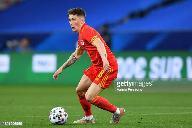 Harry Wilson of Wales in action during the international friendly match between France and Wales at Allianz Riviera on June 2, 2021 in Nice, France.