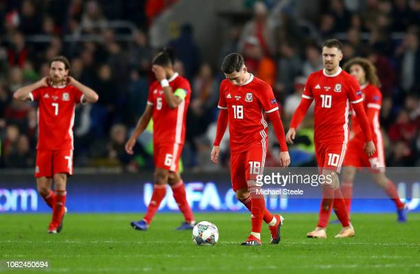 Harry Wilson of Wales looks dejected after Denmark score there second goal during the UEFA Nations League Group B match between Wales and Denmark at...