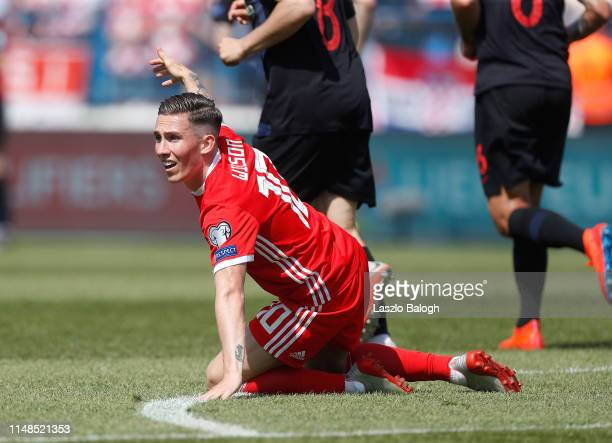 Harry Wilson of Wales reacts during the 2020 UEFA European Championships group E qualifying match between Croatia and Wales on June 8 2019 in Osijek...