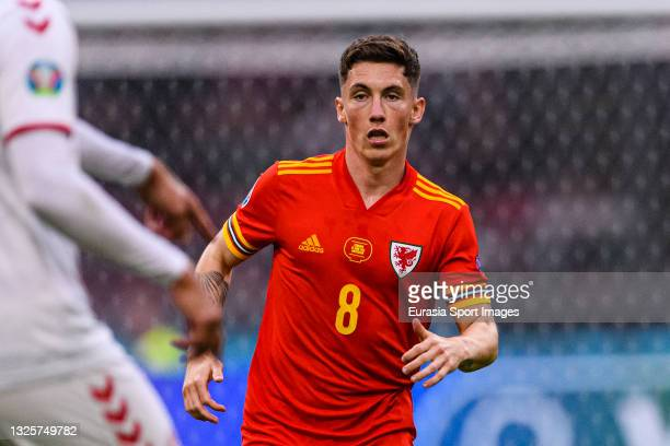 Harry Wilson of Wales runs in the field during the UEFA Euro 2020 Championship Round of 16 match between Wales and Denmark at Johan Cruijff Arena on...